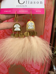 Cream Ostrich Feather Earrings