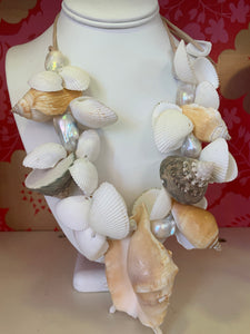 Chunky Seashell & Baroque Pearl Necklace