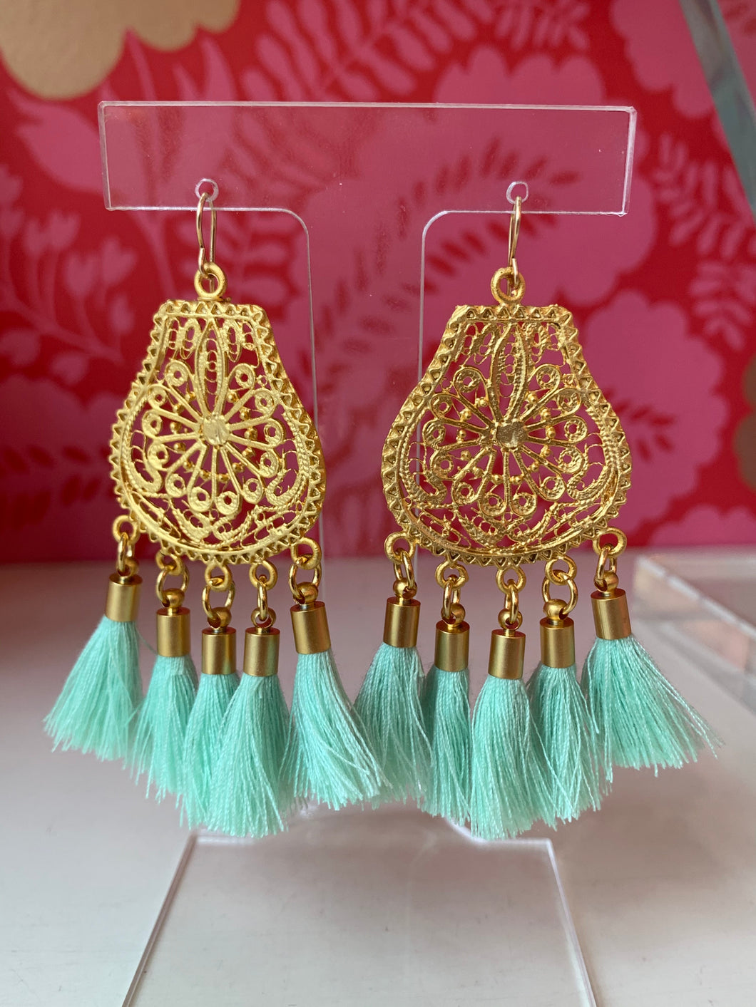 Mint Fringe Tassel Earrings