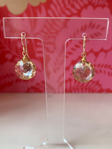 Golden Crystal Drop Earrings