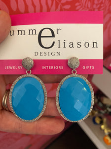 Turquoise and Slice Diamond Earrings