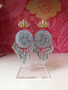 SIlver Beaded Moroccan Style Earrings
