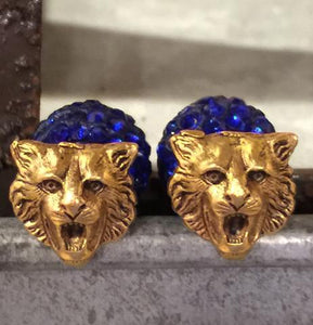 Wildcat Stud Earrings with Rhinestone or Pearl Backs