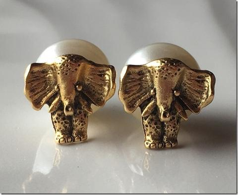 Elephant Studs with Pearl Backs