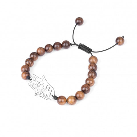 Steel Hamsa Beaded Wood