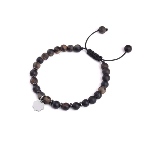 Agate and Hematite Beaded Bracelet - Shamse Charm