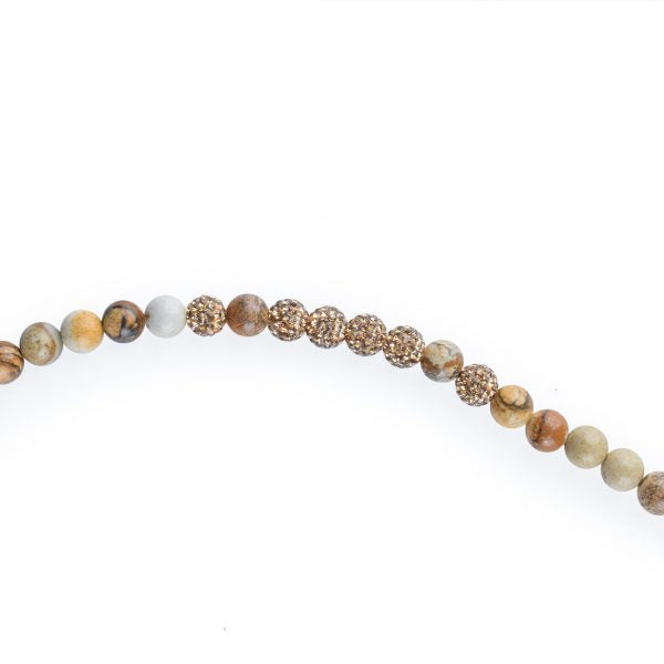 Golden Swarovski - Jasper And Onyx Beaded Necklace