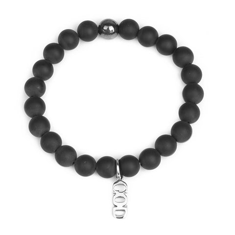 Matte Onyx Stone Elastic Bracelet with God Sign