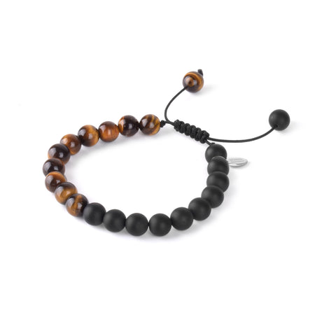 Tigereye and Matte Onyx Stone Beaded Bracelet