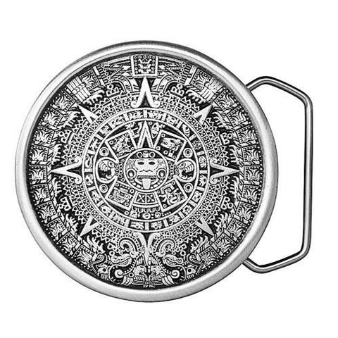 Aztec Calendar Belt Buckle - Pewter
