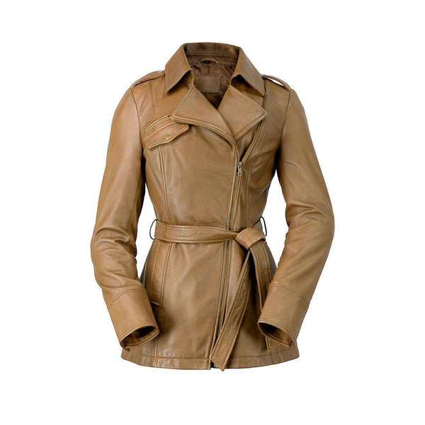 Ladies Leather Trench Camel
