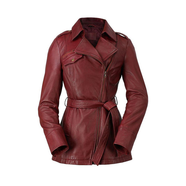 Ladies Leather Trench Oxblood
