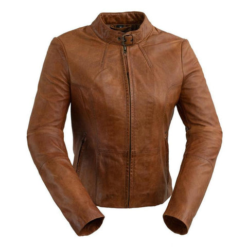 #1383 Leather Jacket Dark Cognac - Ladies
