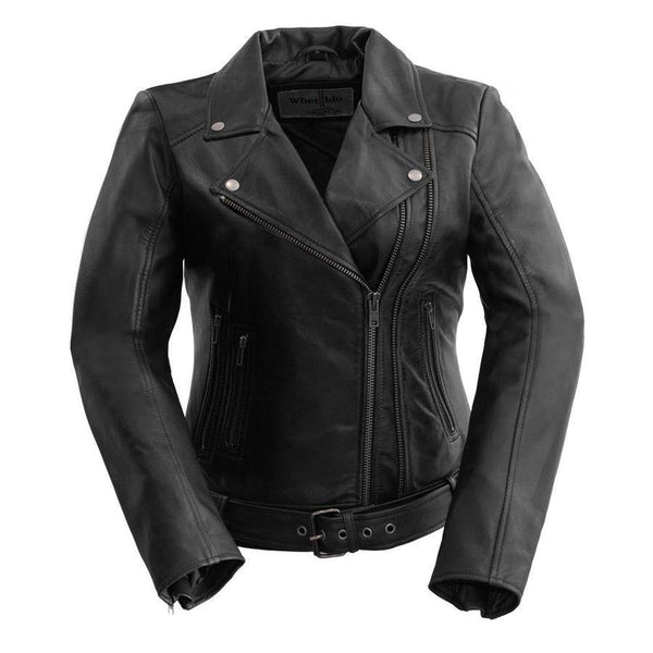 Women's Leather Jacket #1384 Black Front View