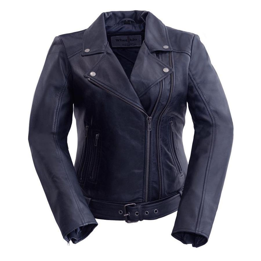 Women's Leather Jacket #1384 Violet Front View