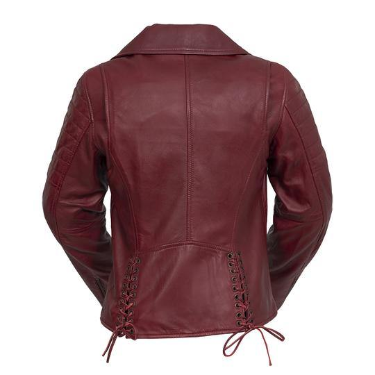 Women's Leather Jacket #1589 Oxblood Back View