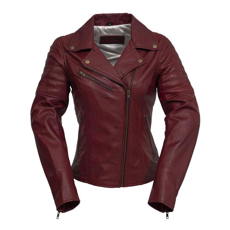 Women's Leather Jacket #1589 Oxblood Front View