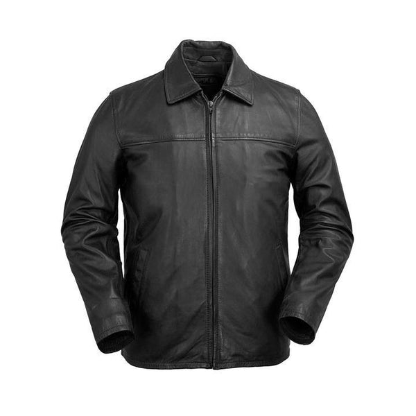 Men's Collared Leather Zip Jacket #2058 - Black