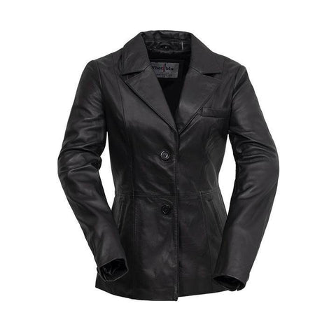 Ladies Leather Blazer Black