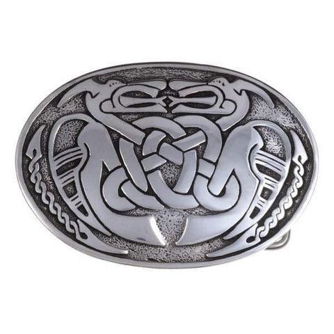 Two Dragons Celtic Belt Buckle - Pewter