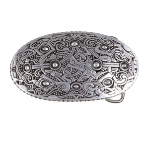Viking Oval Belt Buckle - Pewter