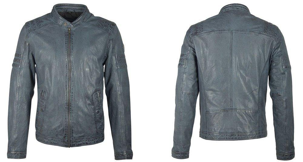 Men's Leather Jacket - Smoke Blue