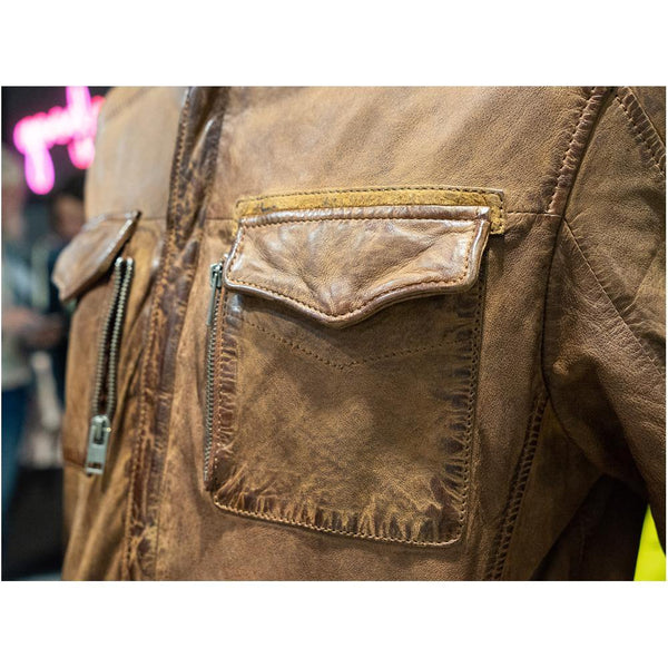 Men's Leather Jacket - Cognac Closeup
