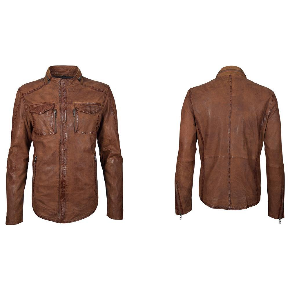 Men's Leather Jacket - Cognac