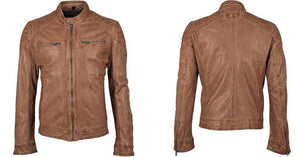 Men's Leather Jacket - Light Cogac