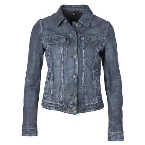 Women's Leather Jacket - Denim Blue - Front View