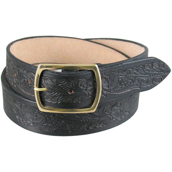 "1 1/2/"" wide Tooled Belt Black 
