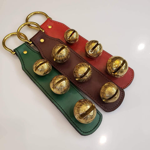 Brass Holiday Bells Red, Brown or Green Leather
