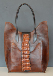 Continental Shoulder Tote - Crocodile Trim