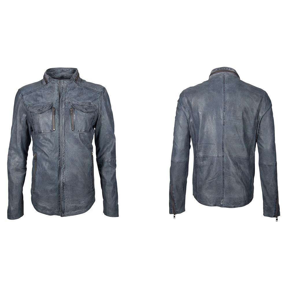 Men's Leather Jacket - Dusty Blue