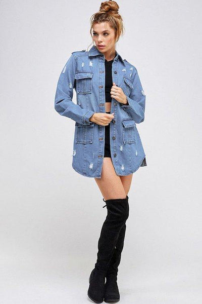 3/4 Denim Pocket Jacket Light Wash