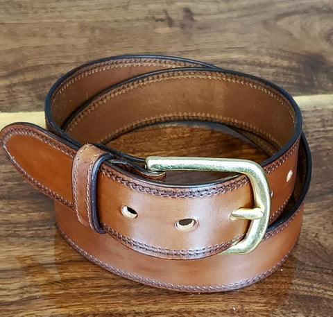 Double Edge Stitched Belt Medium Brown