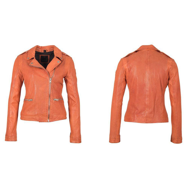 Women's Leather Jacket - Burnt Orange