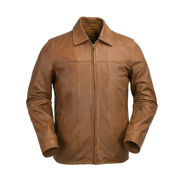Men's Collared Leather Zip Jacket #2058 - Whiskey