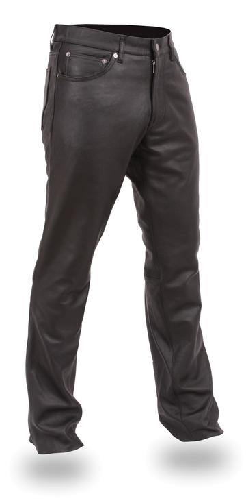 Men's Leather Jeans - Black