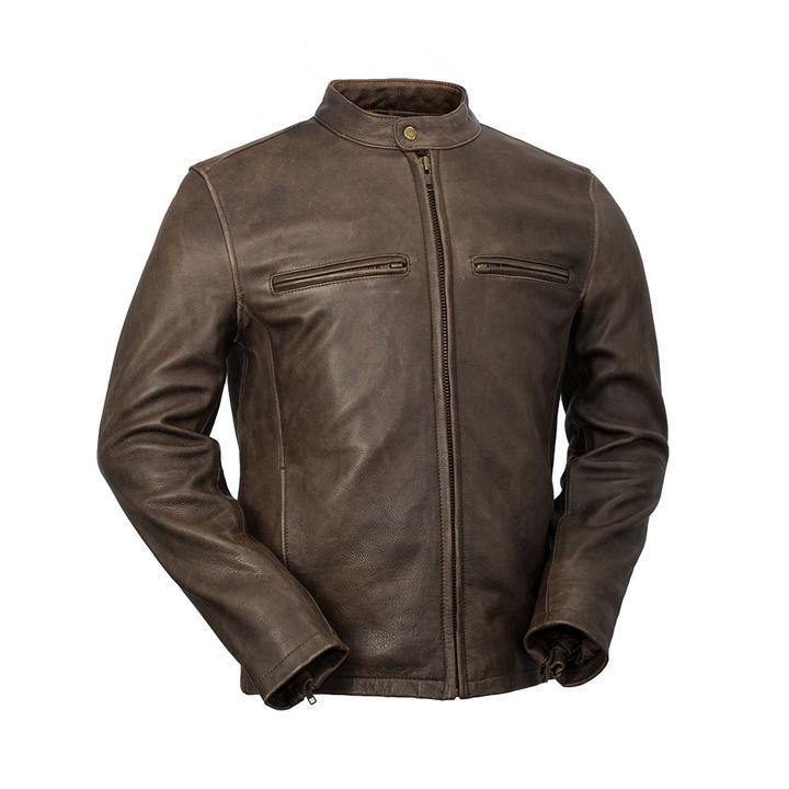 Men's Center Zip Tab Collar Jacket Rock Brown