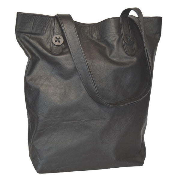 Mary Button Tote - Black