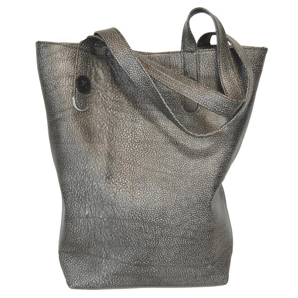 Mary Button Tote - Gunmetal