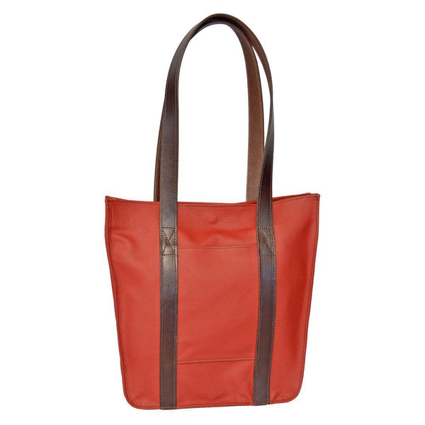 Tall Strap Tote- Light Red Leather