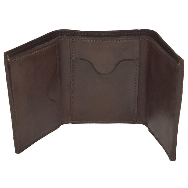 Leather Tri-Fold Wallet Open View Brown