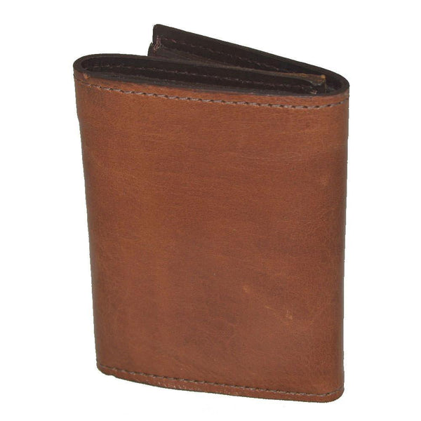 Leather Tri-Fold Wallet Saddle