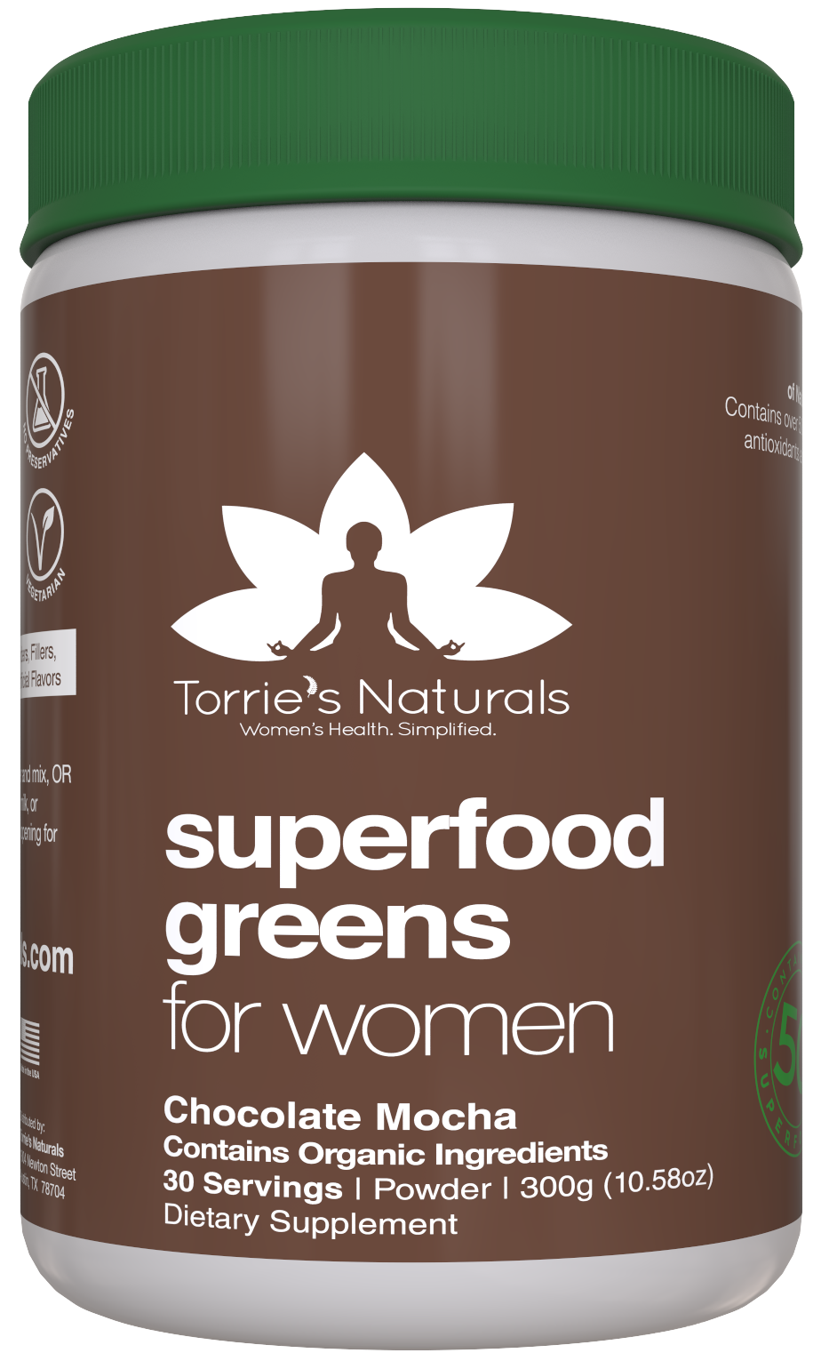Greens Powder Superfood for Women - 50+ Whole Foods, Probiotics & Enzymes for Detox & Weight Management* Chocolate Mocha