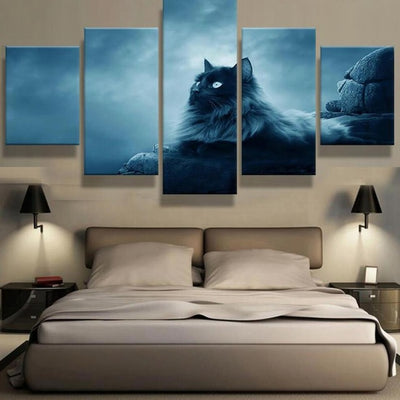 5 Panel Black Cat Wall Art Canvas   Kitty Cats Alley