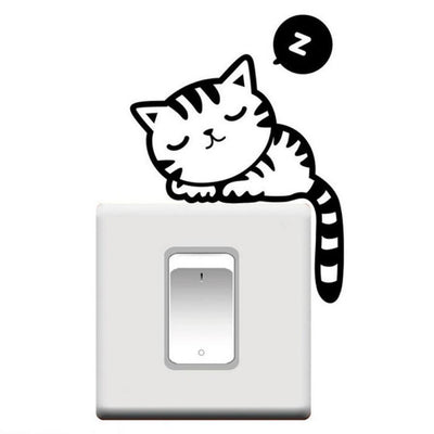 Sleeping cartoon cat sticker kitty cats alley