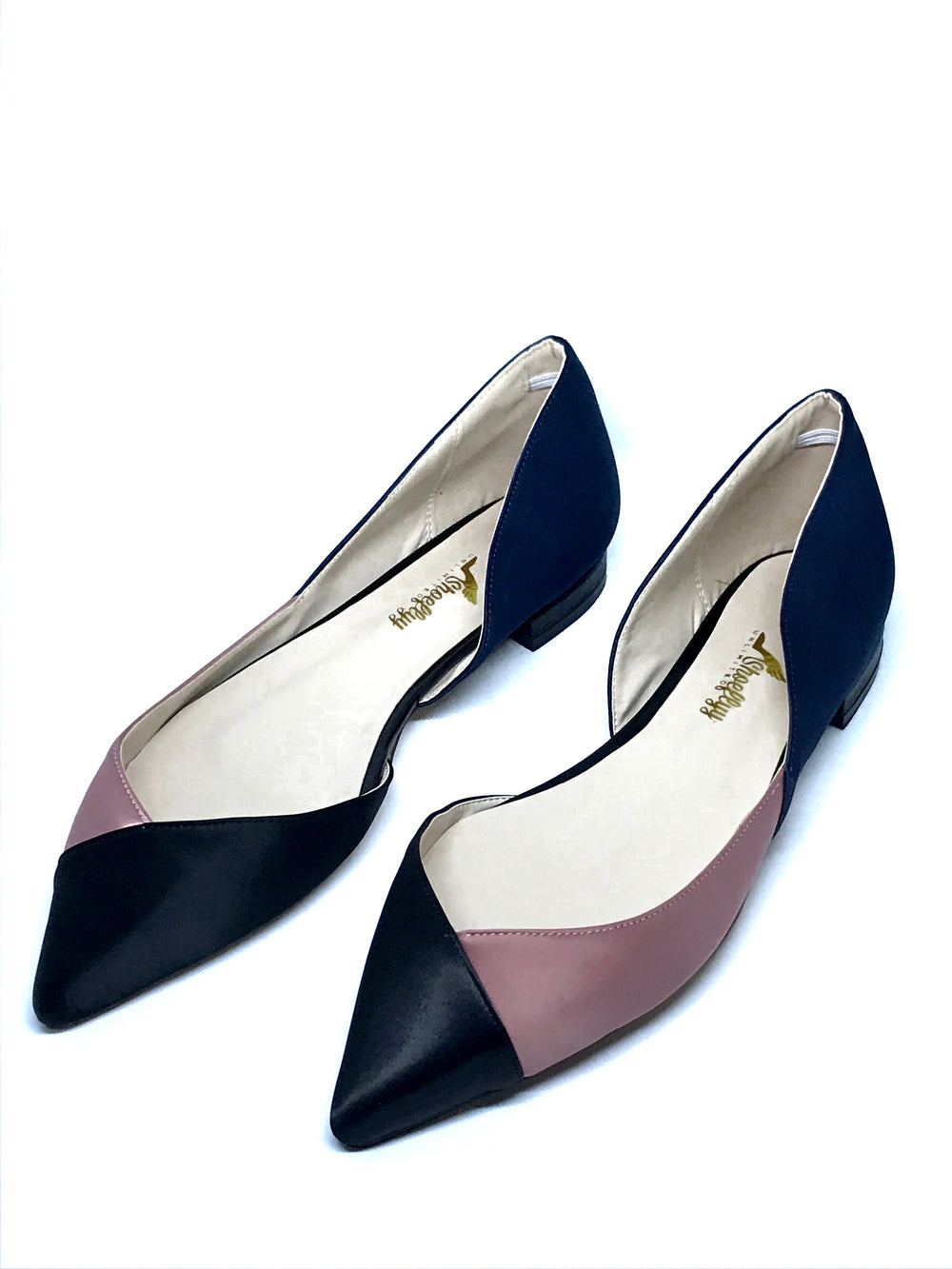 Color Block Satin Flat