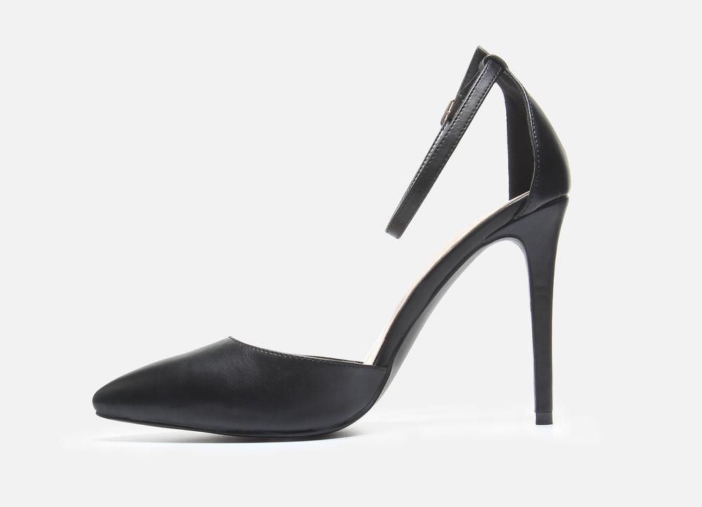 Black Ankle Strap Pump